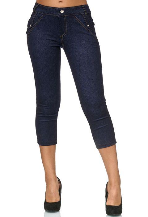 Damen Capri Hose Jeggings 3/4 Hüfthose Skinny Jeans D2421 – Bild 6
