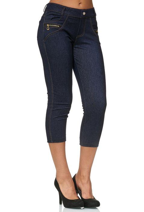 Damen Capri Hose Jeggings 3/4 Hüfthose Skinny Jeans D2425 – Bild 7