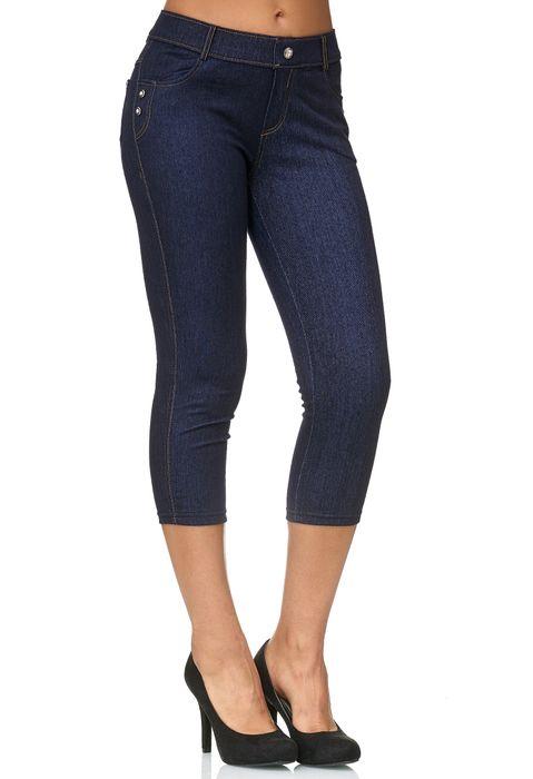 Damen Capri Hose Jeggings 3/4 Hüfthose Skinny Jeans D2427 – Bild 4