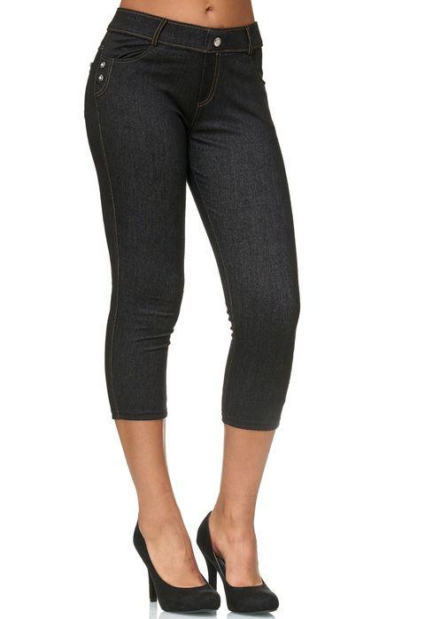 Damen Capri Hose Jeggings 3/4 Hüfthose Skinny Jeans D2427 – Bild 7