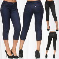 Damen Capri Hose Jeggings 3/4 Hüfthose Skinny Jeans D2427 001