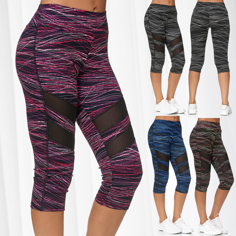 ArizonaShopping Damen Sport Leggings Capri 3//4 Mesh Hose Fitness Pants D2431