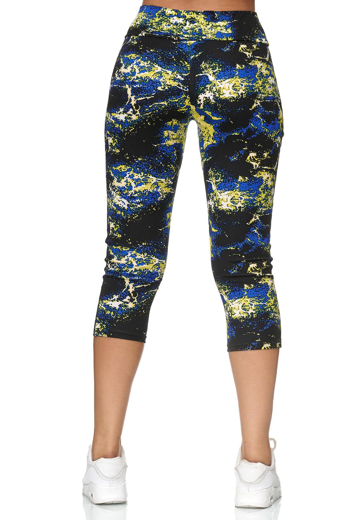 Damen Mesh Sport Leggings Capri Hose Bunt 7/8 Fitness ...