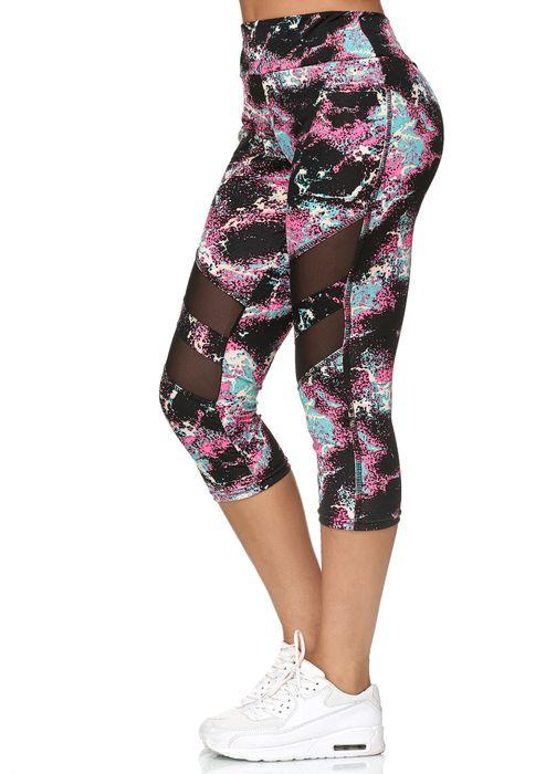 Damen Capri Sport Mesh Leggings 7/8 Hose Fitness Pants D2436 – Bild 15