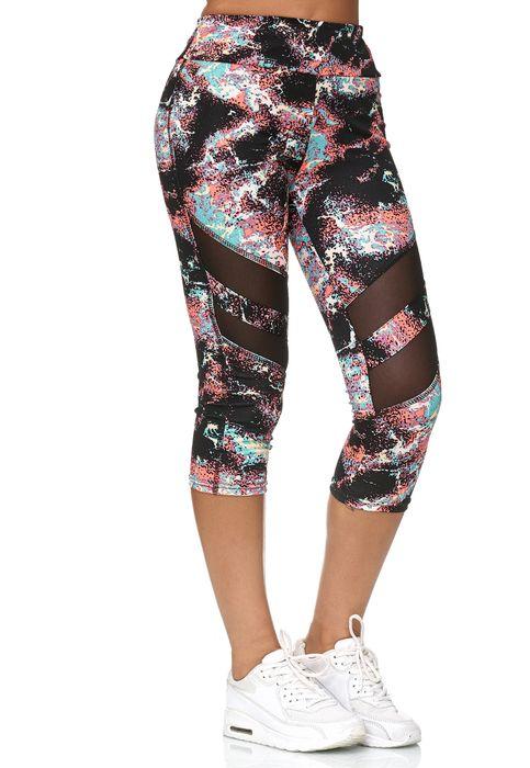 Damen Capri Sport Mesh Leggings 7/8 Hose Fitness Pants D2436 – Bild 4