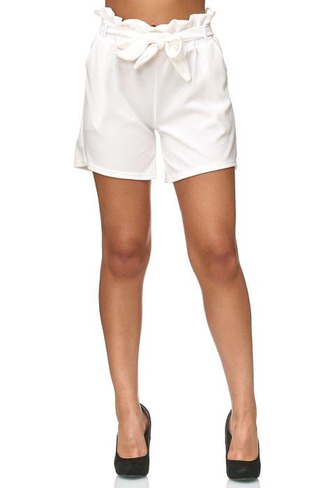 Damen Shorts Kurze Sommer Strand Schleifen Crepé Hose mit Gürtel D2437 – Bild 3
