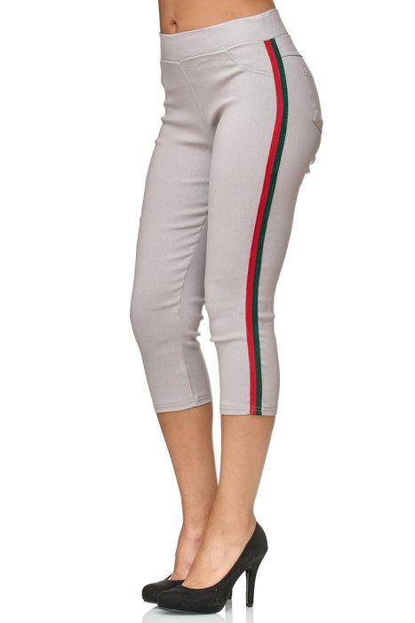 Damen Capri Track Pants Hose Seitenstreifen Treggings Röhre D2438 – Bild 4