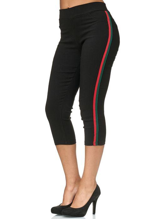 Damen Capri Track Pants Hose Seitenstreifen Treggings Röhre D2438 – Bild 12