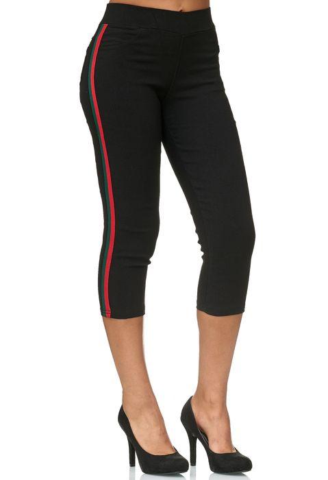 Damen Capri Track Pants Hose Seitenstreifen Treggings Röhre D2438 – Bild 10
