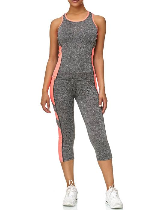 Damen Trainingsanzug Sport Set Tank Top Capri Leggings Fitness Zweiteiler D2441 – Bild 3