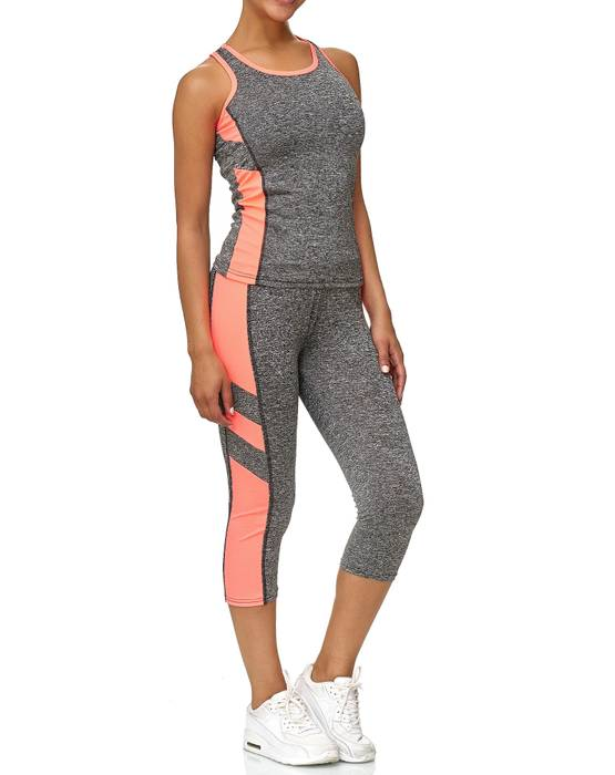 Damen Trainingsanzug Sport Set Tank Top Capri Leggings Fitness Zweiteiler D2441 – Bild 2