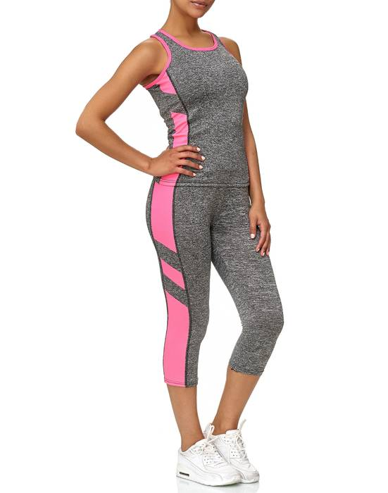 Damen Trainingsanzug Sport Set Tank Top Capri Leggings Fitness Zweiteiler D2441 – Bild 13