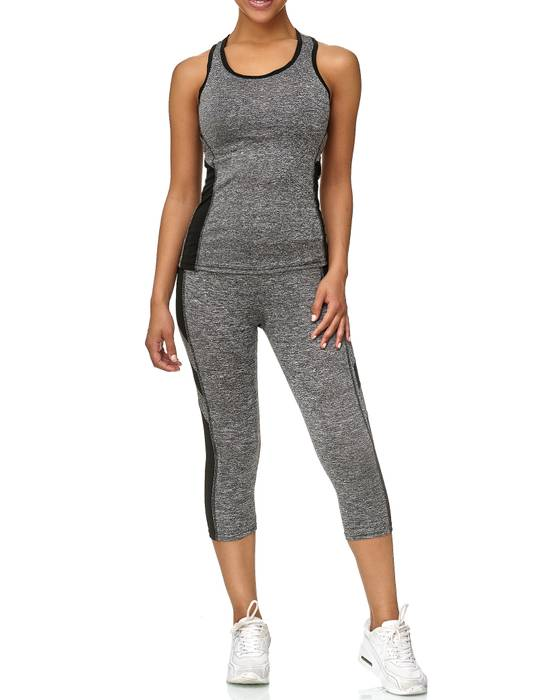 Damen Trainingsanzug Sport Set Tank Top Capri Leggings Fitness Zweiteiler D2441 – Bild 17