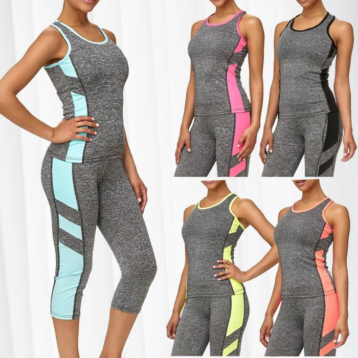 Damen Trainingsanzug Sport Set Tank Top Capri Leggings Fitness Zweiteiler D2441 – Bild 1