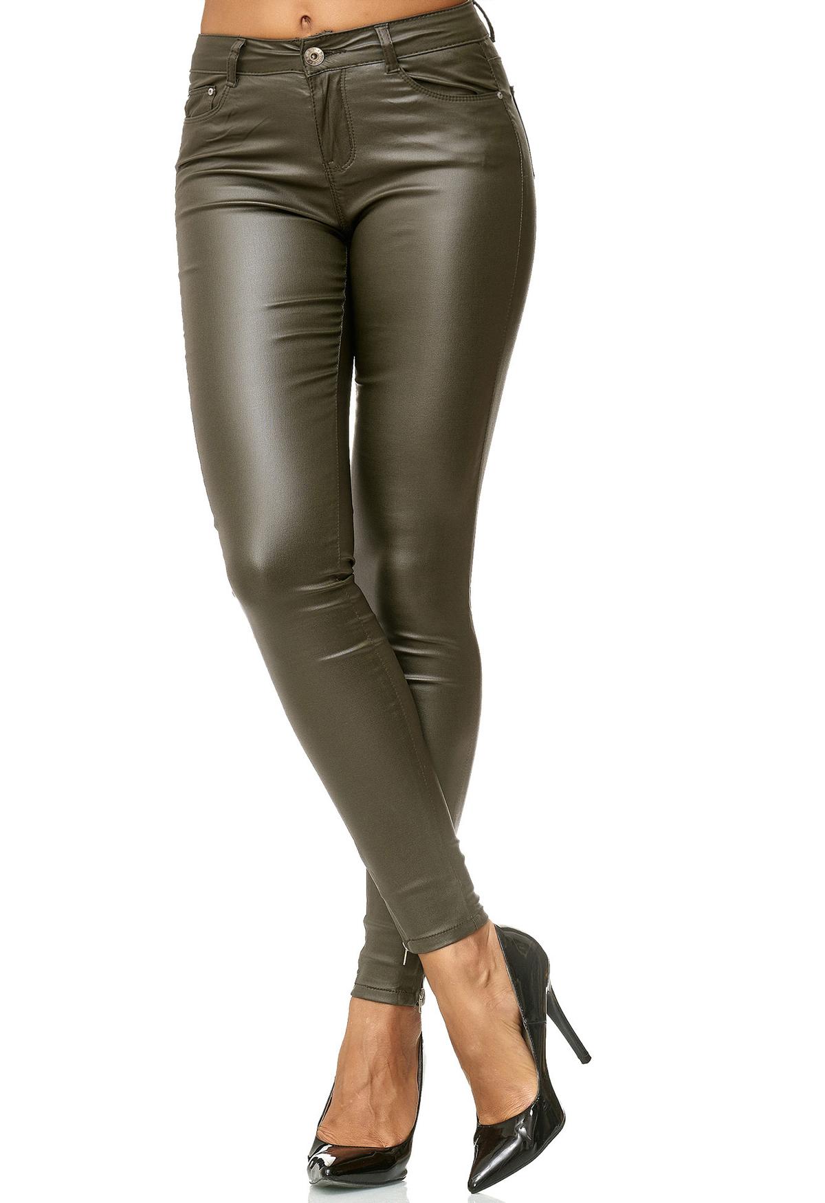 Damen Leder Hose Biker Pants Treggings Röhre Kunstlederhose Skinny Lederoptik | eBay