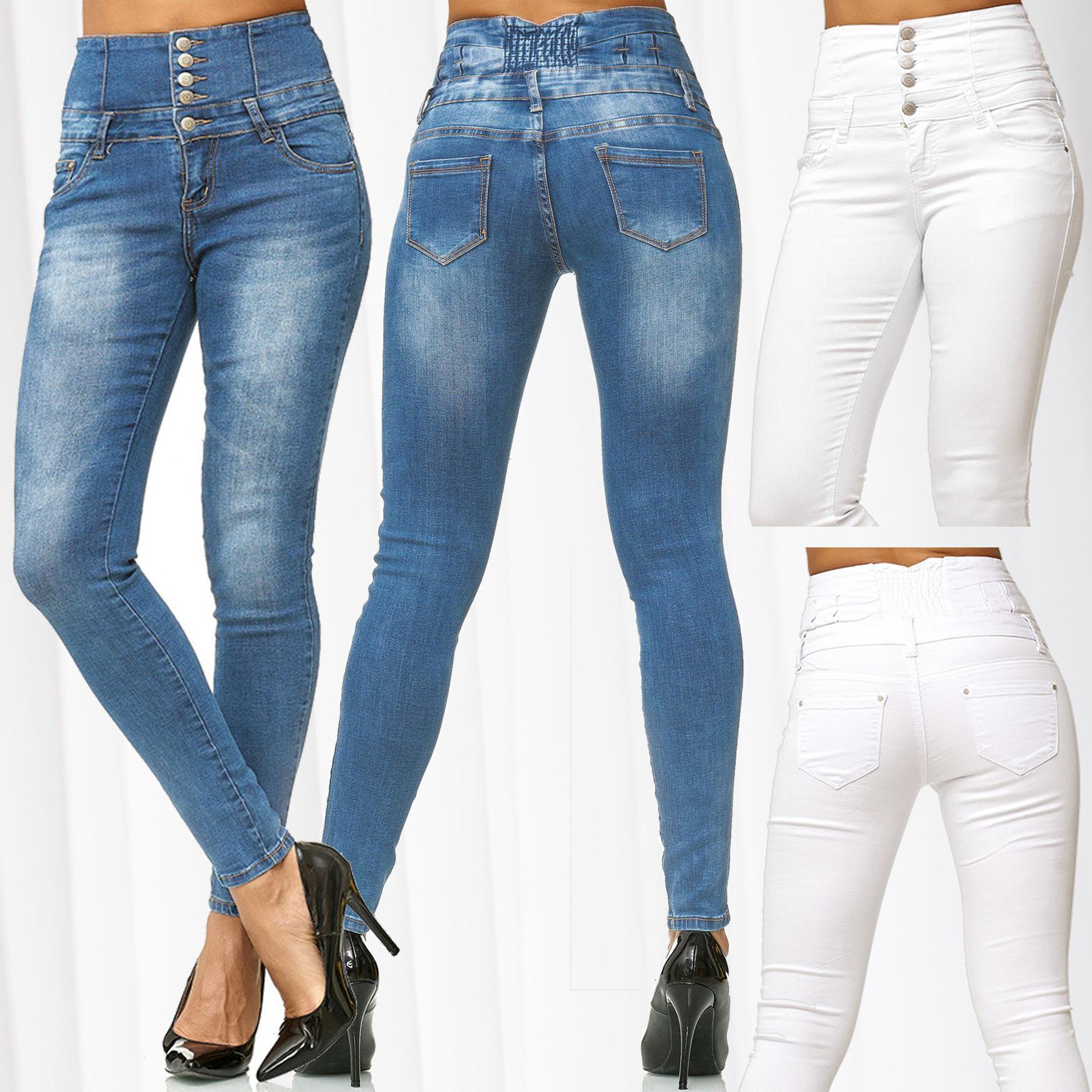 Damen Hochbund Röhre High Waist Slim Fit Jeans Stretch Skinny Hose hoher Schnitt