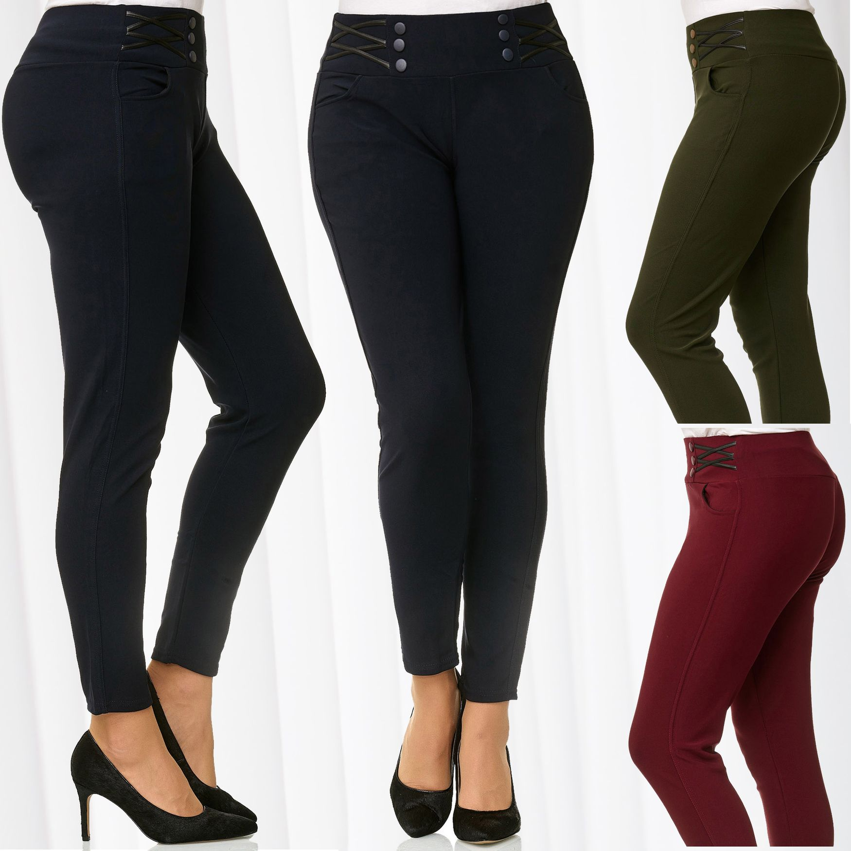 Damen Hose Stretch Stoff Übergröße Leggings Treggings Jeggings Skinny Plus Size