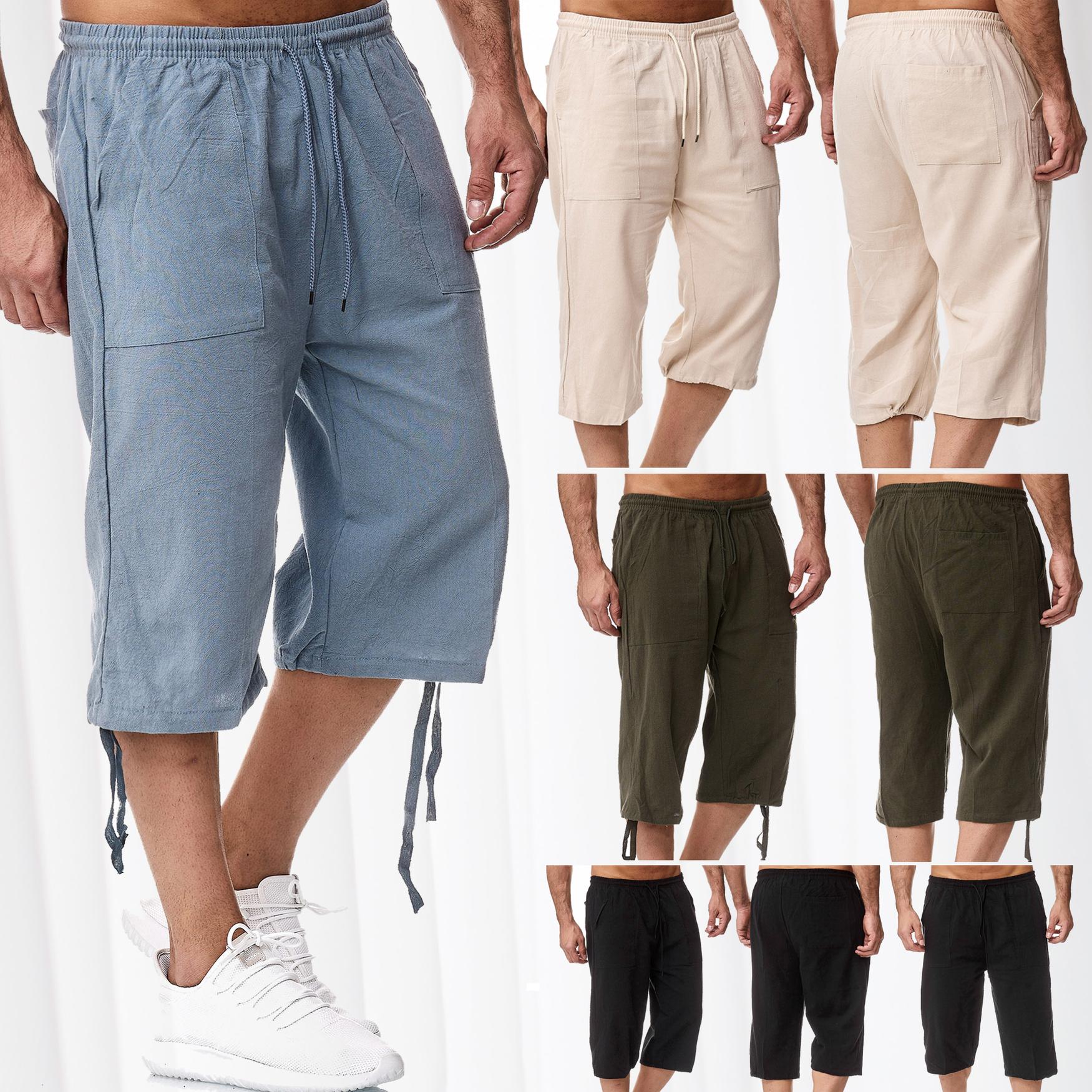 Dettagli su Pantaloncini da uomo 34 Pantaloni corti Bermuda taglio ampio Misto cotone