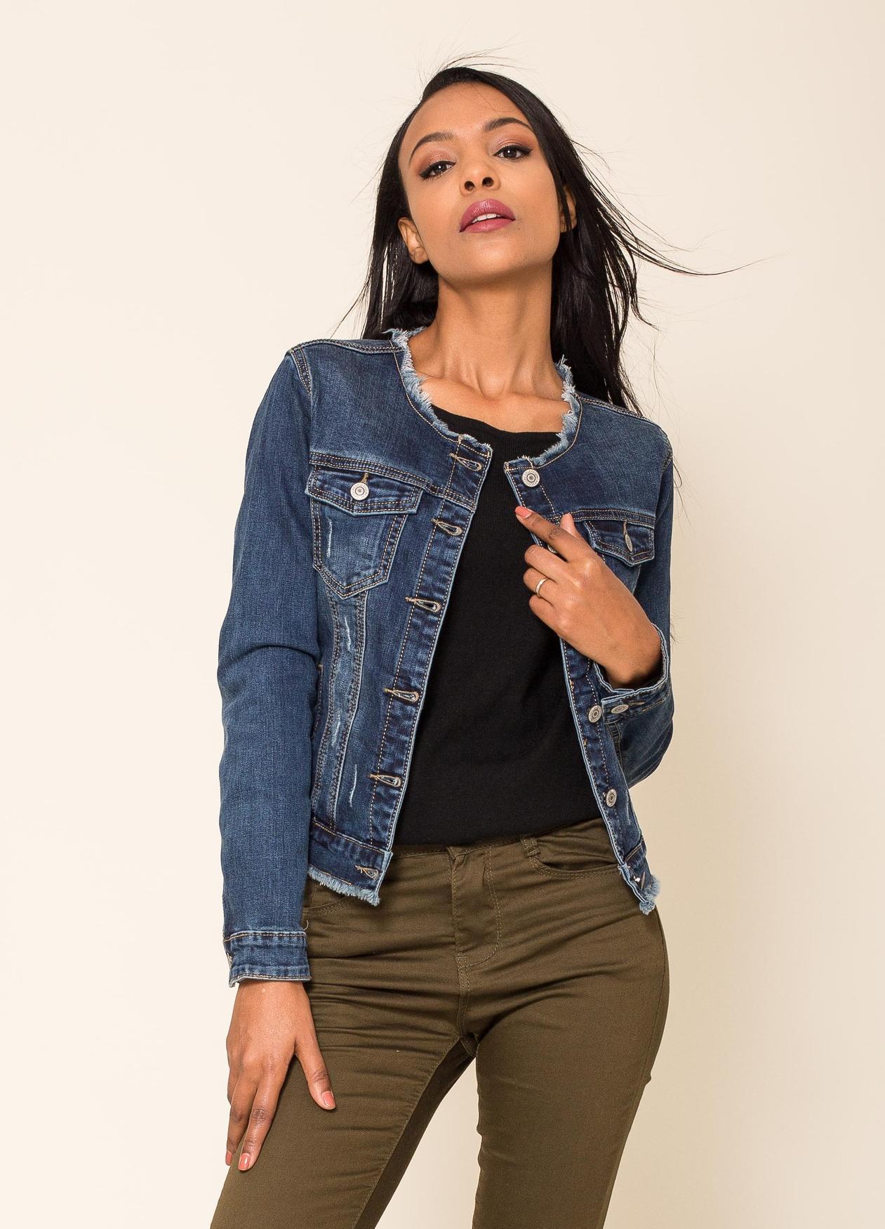Damen Jeansjacke Kurze Übergangsjacke Used Denim Weste Destroyed, Farben:Blau, Größe:42 XL