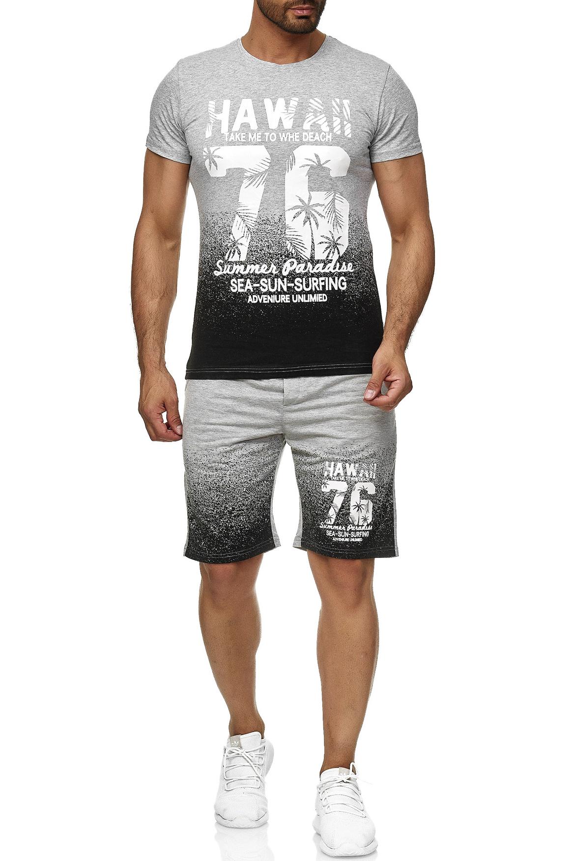 Men/'s Sports Set T-Shirt Shorts Hawaii Print Two Piece Shortsleeve Jersey Pants