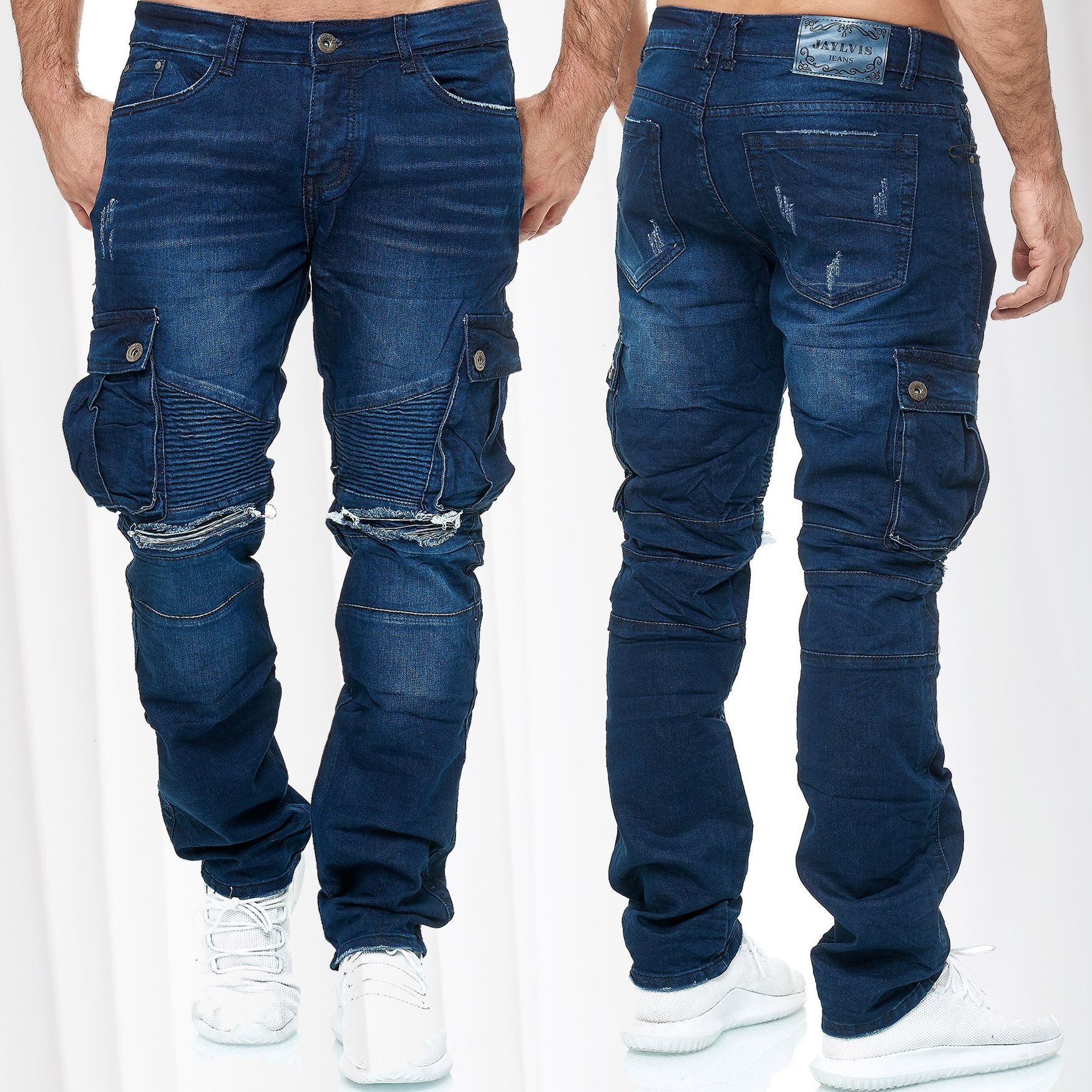 Hommes Jeans Regular Fit Pantalon Used stretch grande taille w34-w46 Plus Size stretch