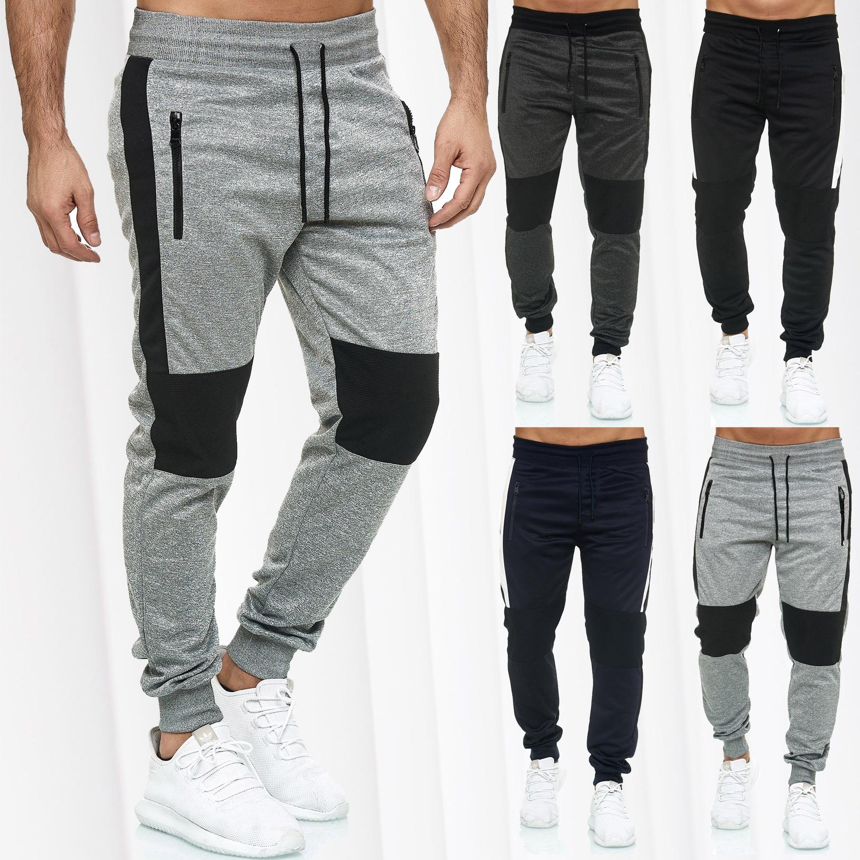 Mens active Jogging pants biker chill training ribbed fitness Gym Sport  pants | eBay