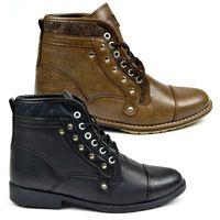 Herren Boots | (Herbst/Winter) Stiefelette in Lederoptik mit 6-Loch-Schnürung und profilierter Gummilaufsohle | H564 von ArizonaShopping 001
