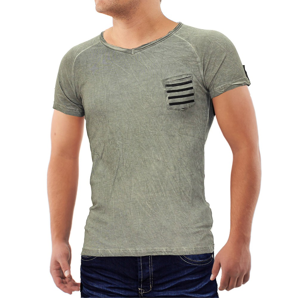 Men's T-Shirt V-neck polo sport clubwear shirt figure ...
