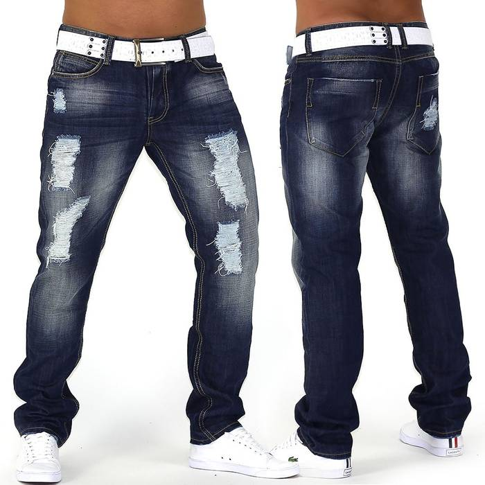 Herren Jeans Center Ripped ID749 Straight Fit (Gerades Bein)