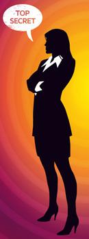 Codenames Frau des Coverbildes mit Sprechblade Top Secret