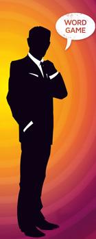 Codenames Mann des Coverbildes mit Sprechblade Word Game