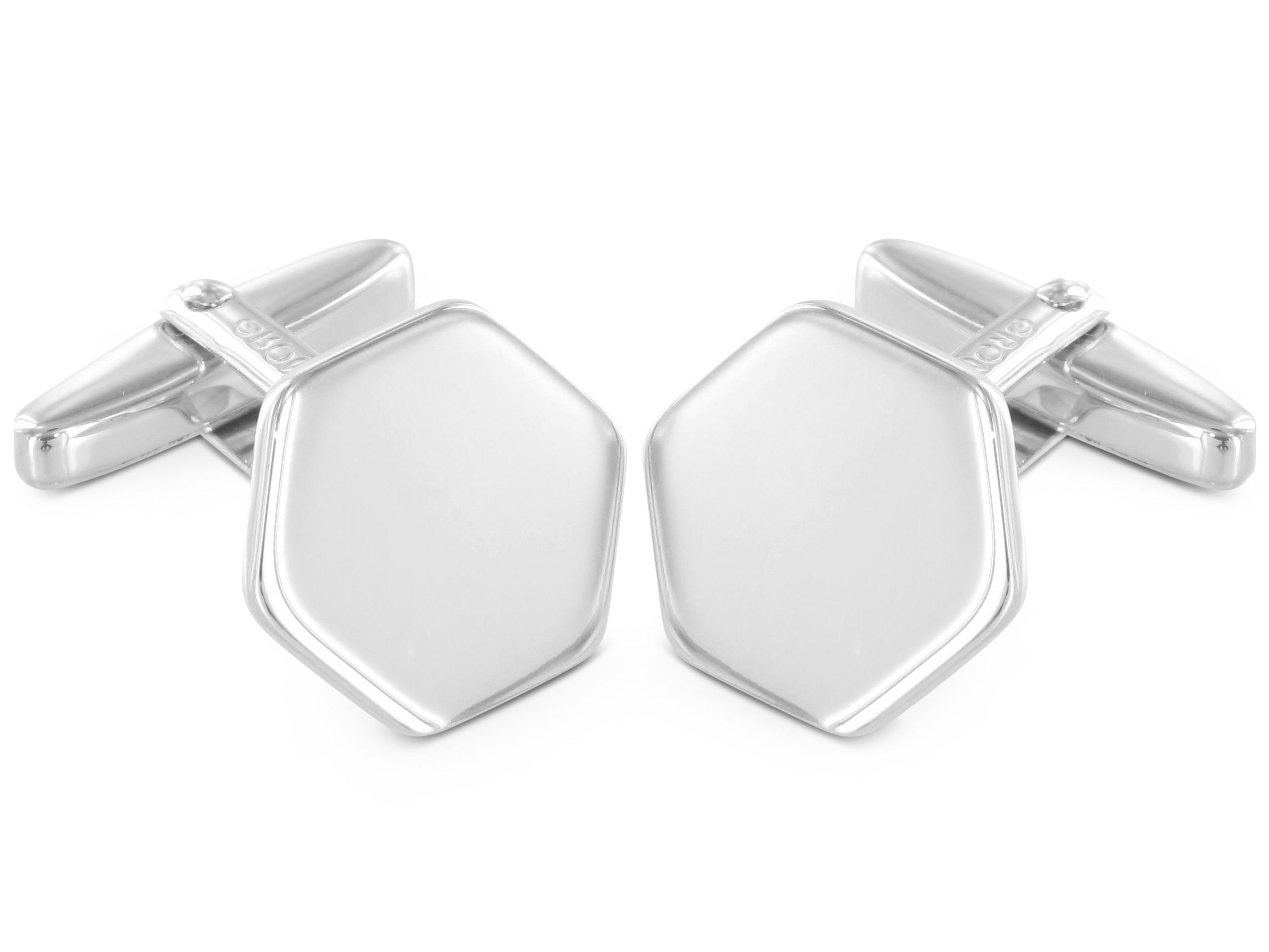 Grom Gravur Manschettenknöpfe Hexagon Silber
