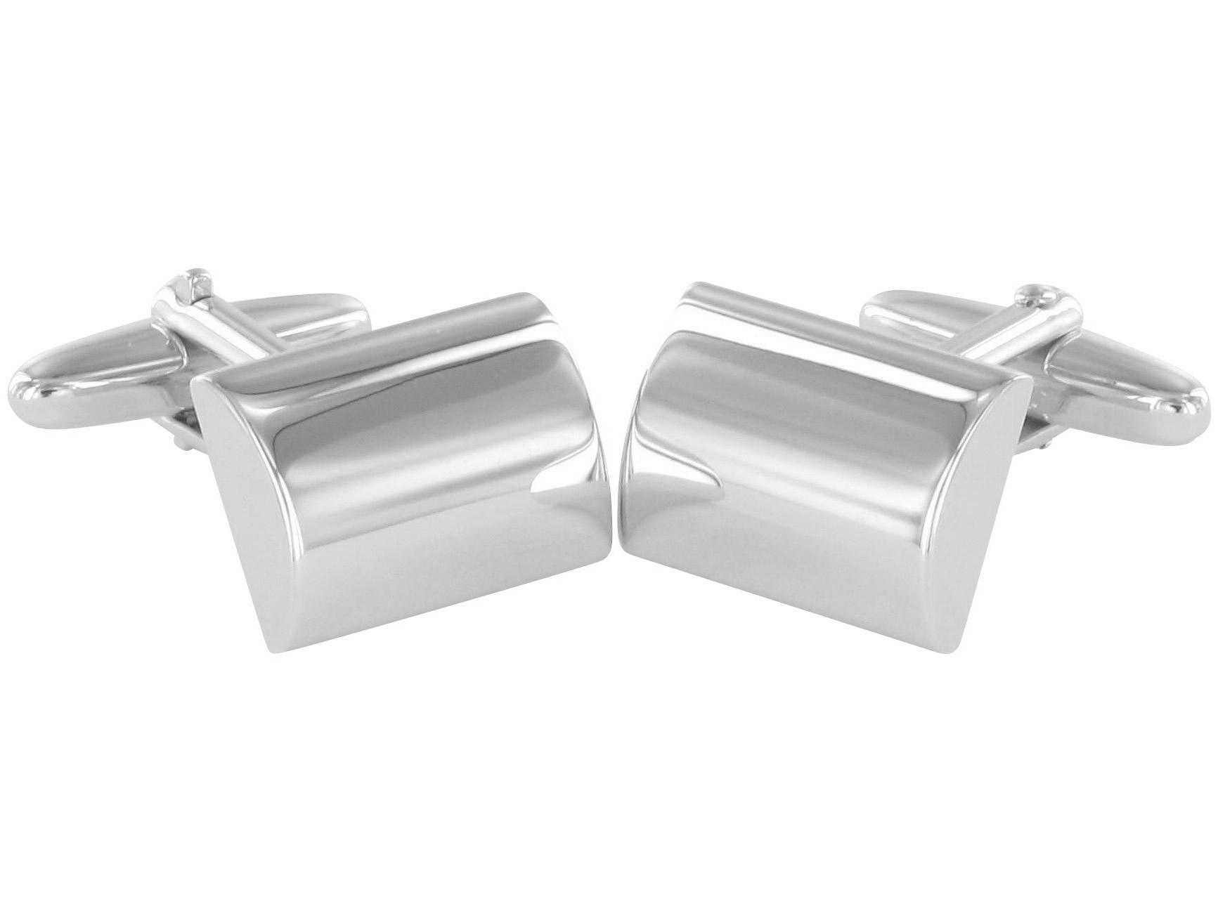 Grom Gravur Manschettenknöpfe Silber konvex