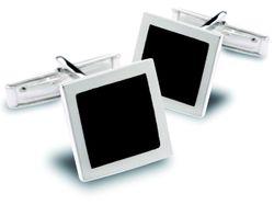 Stilvolle quadratische Manschettenknöpfe mit Onyx-Einlage aus 925er Sterling Silber