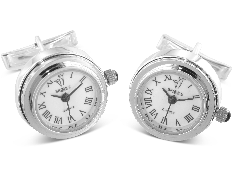 BROOKER Manschettenknöpfe Uhr Silber