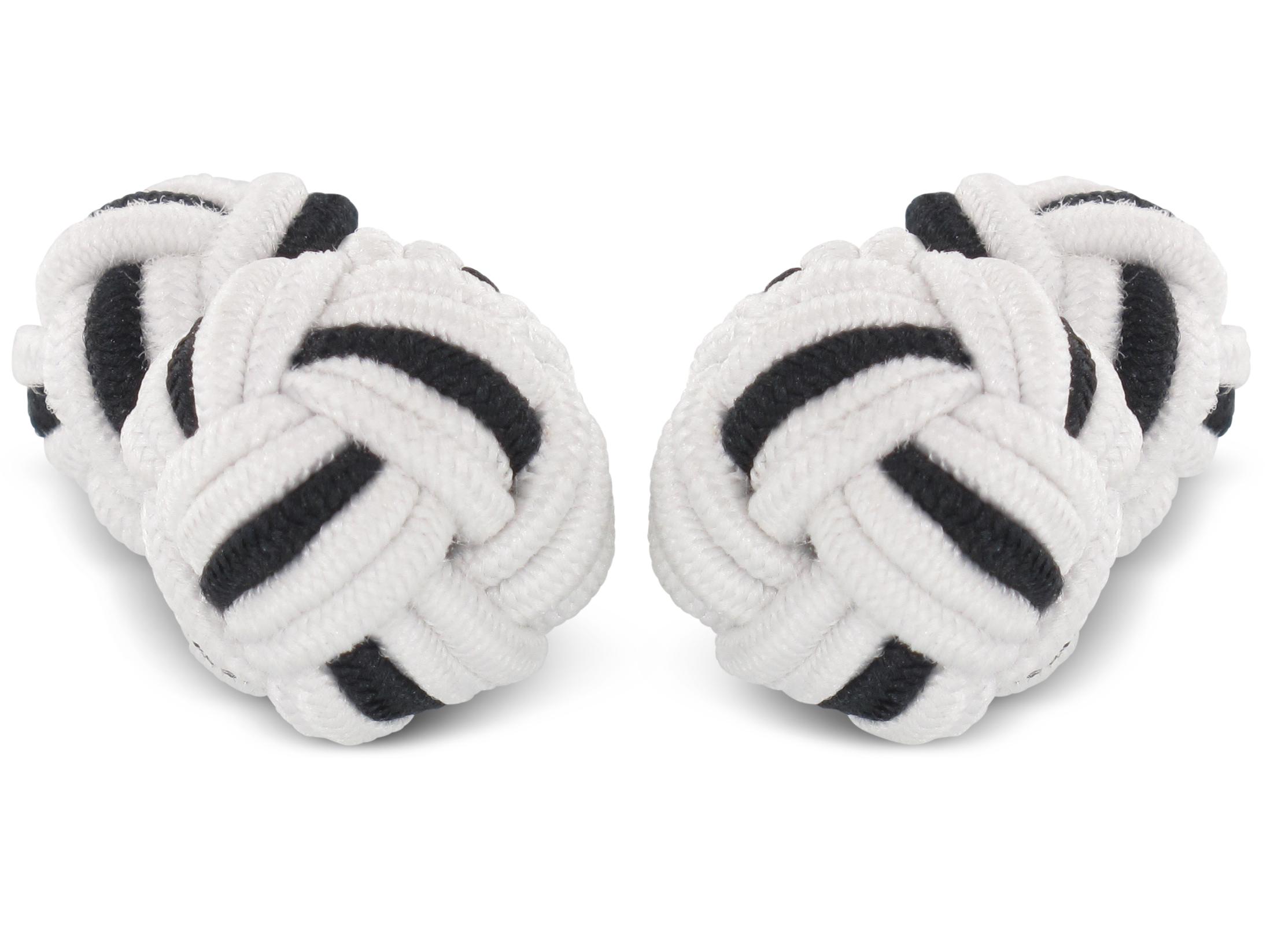 TEROON Manschettenknöpfe Seidenknoten weiß-schwarz