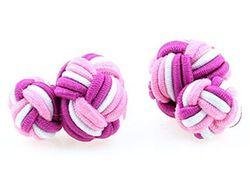 Dezente dreifarbige Manschettenknöpfe mit Seidenknoten in rosa, pink, weiß Damen