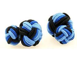 Moderne zweifarbige Manschettenknöpfe mit Seidenknoten in blau-schwarz