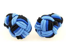 Schicke zweifarbige Manschettenknöpfe mit Seidenknoten in blau-schwarz