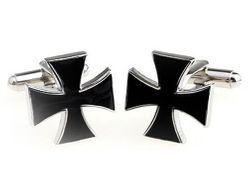 Kunstvolle schwarz, silberfarbene Motiv Manschettenknöpfe mit Kreuz