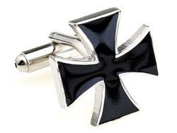 Einzigartige zweifarbige Motiv Manschettenknöpfe mit schwarzem Kreuz