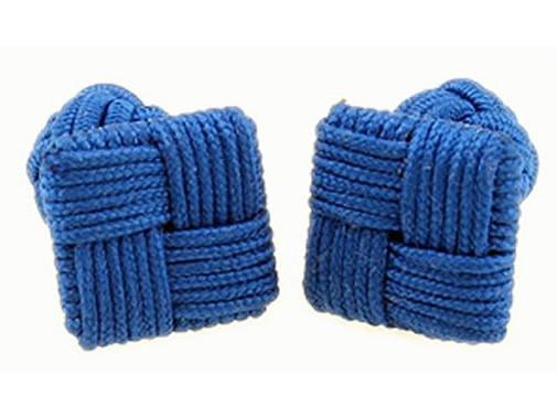 TEROON Manschettenknöpfe Seidenknoten blau