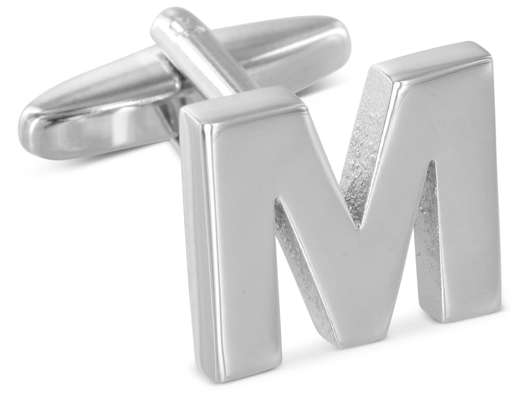 """TEROON Manschettenknopf Buchstabe Initiale """"M"""" [EIN Knopf - KEIN PAAR]"""