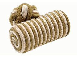 Modische Seidenknoten Manschettenknöpfe Hellbraun weiß