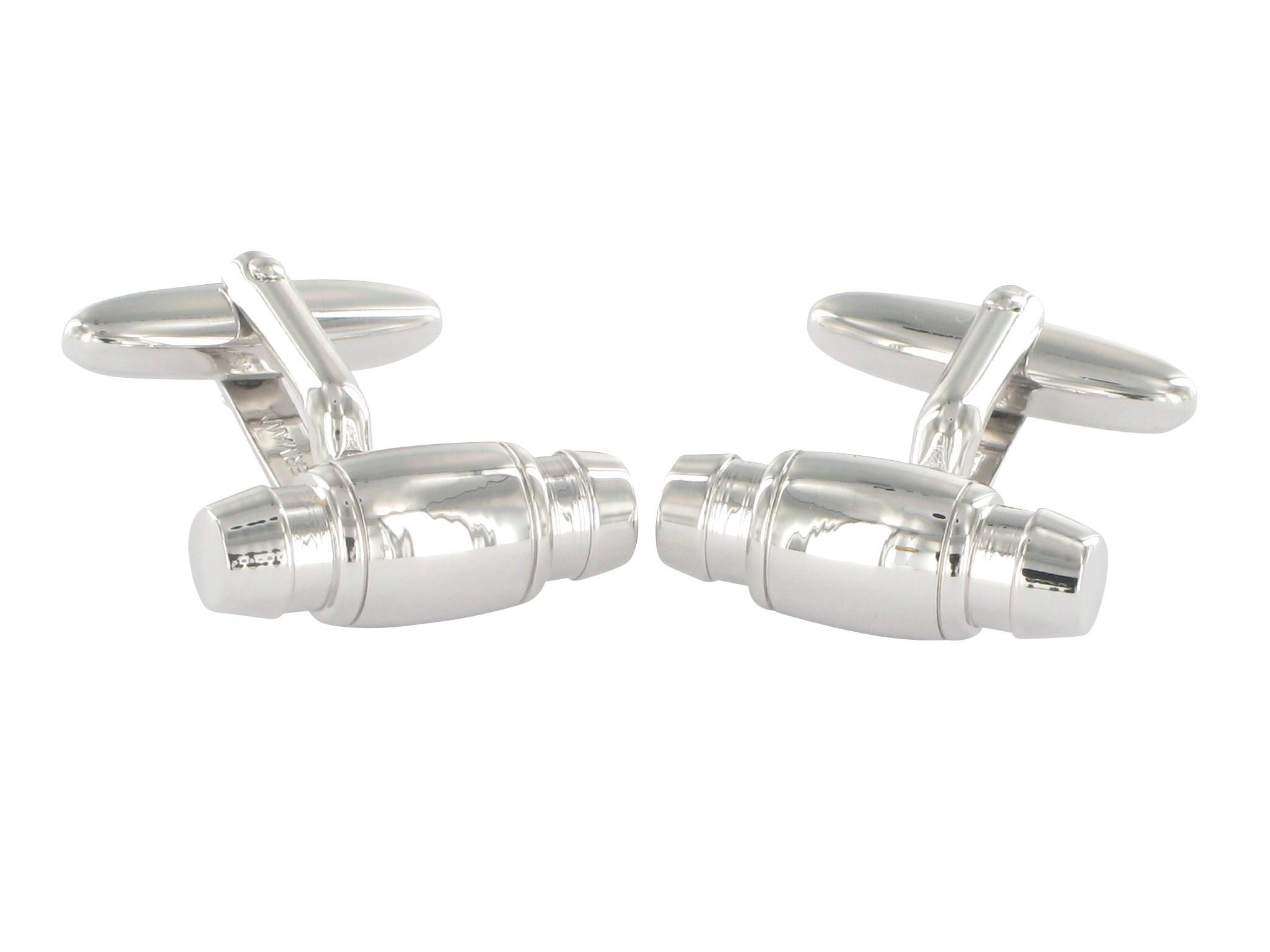 Grom Design Manschettenknöpfe Silberfarben zylinderförmig