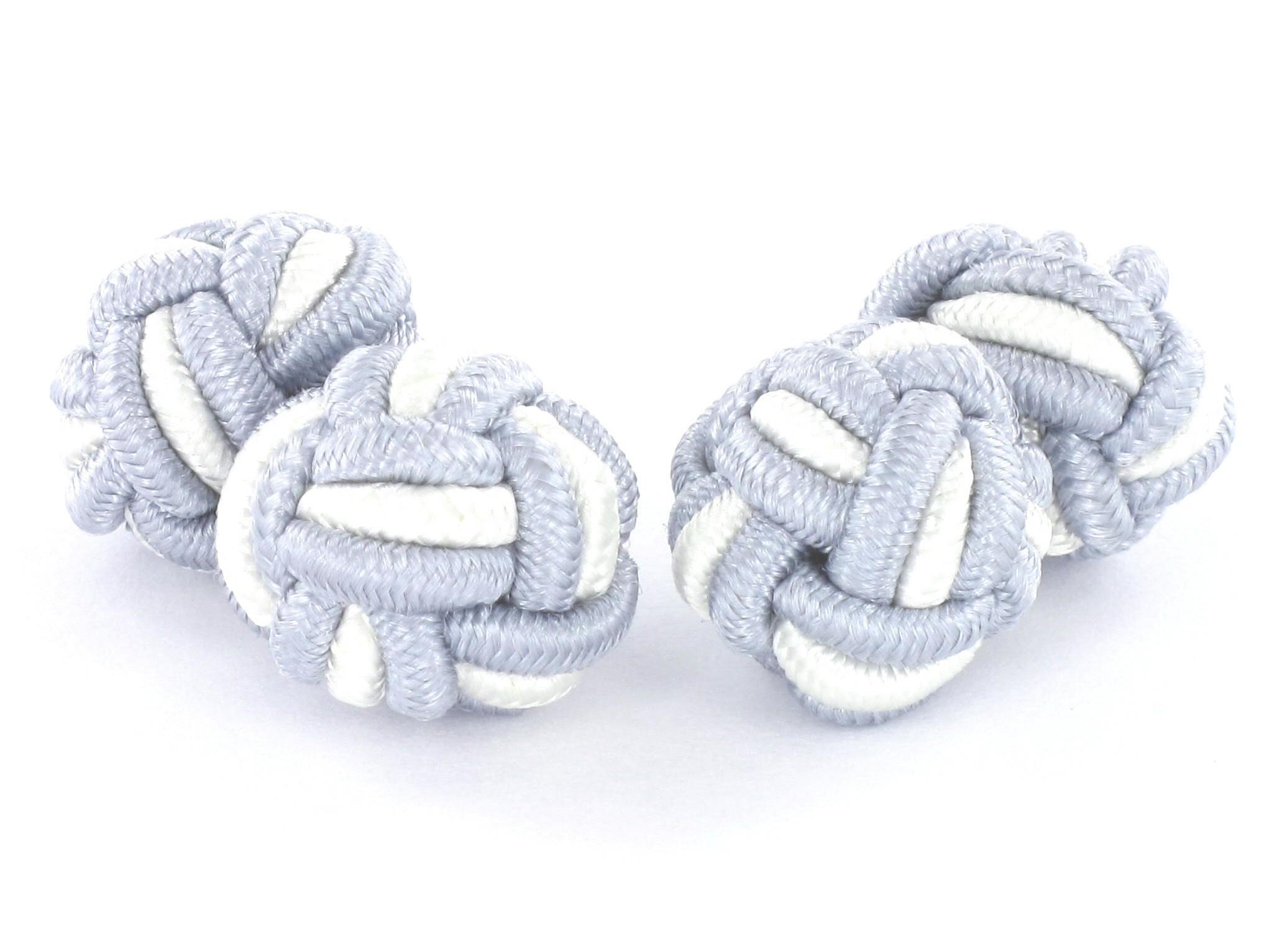 TEROON Manschettenknöpfe Seidenknoten silbergrau-weiß