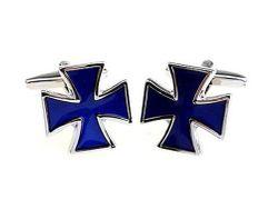 Manschettenknöpfe Kreuz blau von Teroon