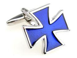 Manschettenknopf groß in Blau Kreuz