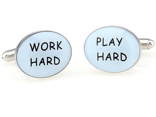 TEROON Manschettenknöpfe Work Hard Play Hard