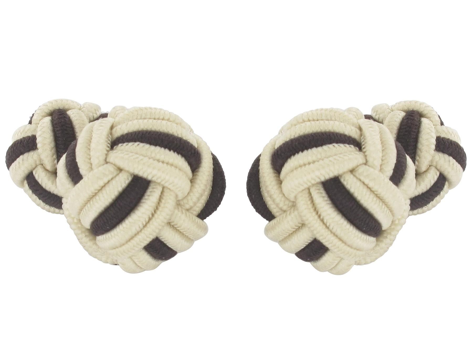 TEROON Manschettenknöpfe Seidenknoten beige-dunkelbraun
